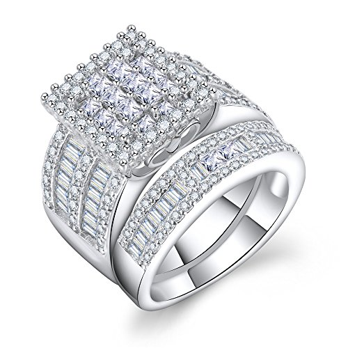 Square Cubic Zirconia Bridal Set - Princess Cut CZ Jewelry Engagement Wedding Band Rings Set for Women (5)