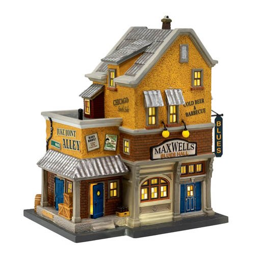 Department 56 Christmas in the City Village Maxwell's Blues Hall Lit Building