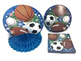Sports Themed, Soccer, Baseball, Football, Basketball, Birthday Party Supply Bundle. 4 Items; Plates, Napkins, Invitations, Cups. Serves 18