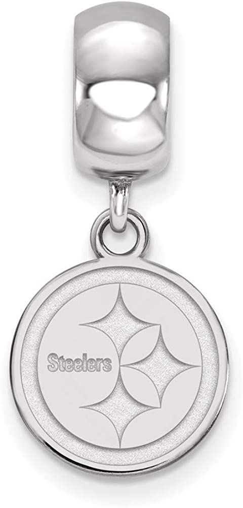925 Sterling Silver Rh-plat Pittsburgh Steelers Bead Charm XS Dangle