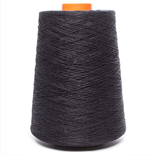 (Linen Yarn Cone - 100% Flax Linen - 1 LBS - DARK GREY - Graphite Color - 3 PLY - Sewing Weaving Crochet Embroidering - 3.000 yards)