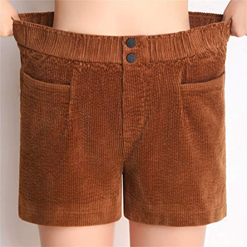 Di Donna Da Elastico Light Velluto Coste Pantaloni Brown Elastica Alta A Vita In Pantaloncini Shizheshop Femminile Casual Bw6n5xOA