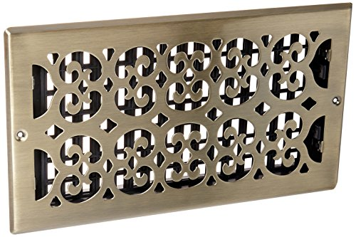 Decor Grates SP612W-A Scroll Steel Plated Antique Wall Register, 6 x 12-Inch, Antique Brass