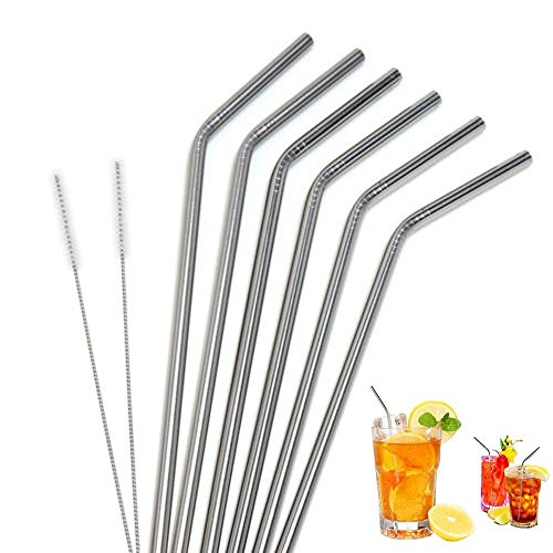 """Price comparison product image Buybuybuy Stainless Steel Straws Set of 6,  8.5"""" Long Metal Straws Drink for Cold Beverage Smoothies with Stainless Tumblers Ramblers (6 Bend Straws + 2 Cleaning Brushes)"""