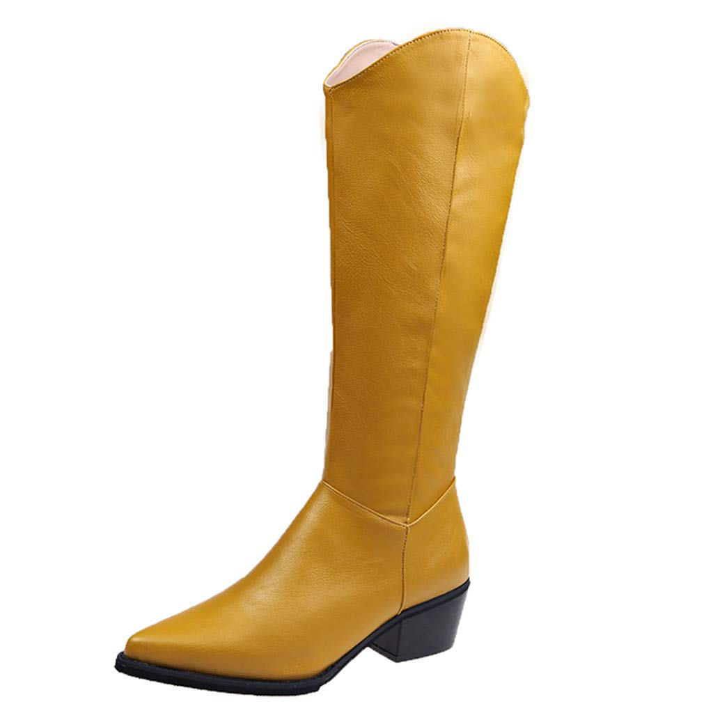 Women's Leather Pointed Toe Knee High Fashion Boots Low Block Heel Mid Calf Waterproof Side Zipper Boots (US:6, Yellow) by Dasuy