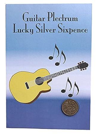 Guitar Pick/Plektrum Lucky Silber Sixpence Geschenk oder Grüße Karte ...