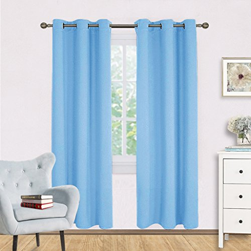 Window Treatment Blackout Curtain Panels - NICETOWN Home Décor Thermal Insulated Solid Grommet Blackout Draperies / Drapes for Bedroom (Set of 2 Panels,42 by 72 Inch,Blue) (Tiffany Blue Curtain Panels)