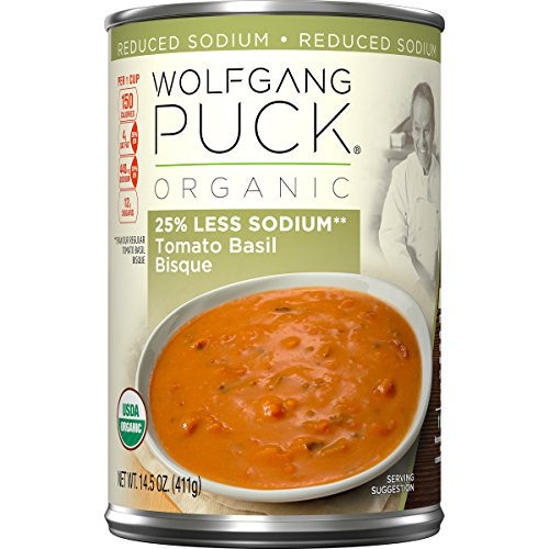 Wolfgang Puck Organic Bisque, 25% Less Sodium Tomato Basil, 14.5 Ounce (Pack of 12) (Packaging May Vary)