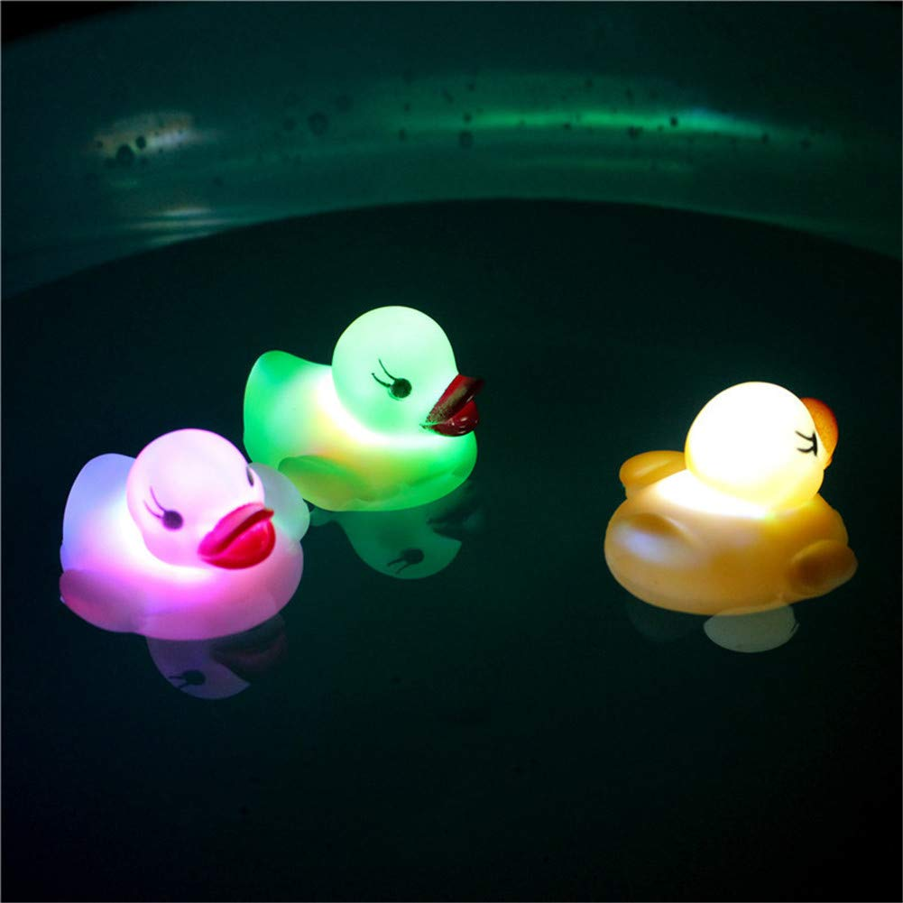 Random Color 3 Pack Tub Floating Toy Bath Water LED Light Auto Color Changing Baby Bathroom Toys Multi Color LED Lamp Bath Toys for Baby Boys and Girl OWIKAR Rubber Duck Bath Flashing Light Toy