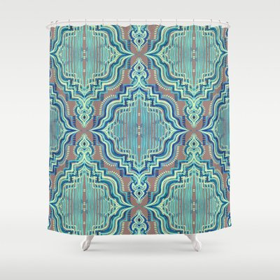 Society6 - Marker Moroccan In Aqua, Cobalt Blue, Taupe & Teal Shower Curtain by Micklyn
