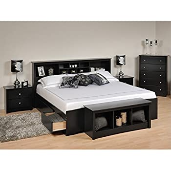 Amazon.com: Prepac Sonoma King 4 Piece Bedroom Set in Black ...