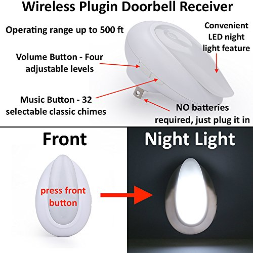 AcePoint Night Light Wireless Doorbell Series, 2-in-1 Plug-in Wireless Door bell w/ LED Night Light Function, Long Operating Range
