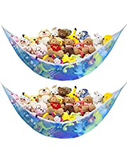 Jumbo Stuffed Animal Hammock, Toy Storage Organizing Net for kids Plush Toys, Expands To 65 inches, Extra Large, Great Decor for Baby Nursery Bed Room, Corner Mesh Organizer