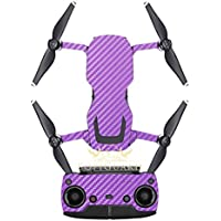 SopiGuard Purple Carbon Fiber Precision Edge-to-Edge Coverage Vinyl Sticker Skin Controller 3 x Battery Wraps for DJI Mavic Air