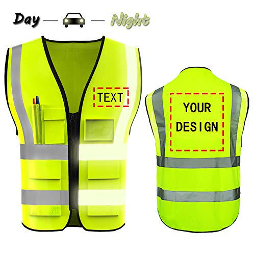 (High Visibility Safety Vest Custom Your Logo Protective Workwear 5 Pockets With Reflective Strips Outdoor Work Vest (Neon Yellow)