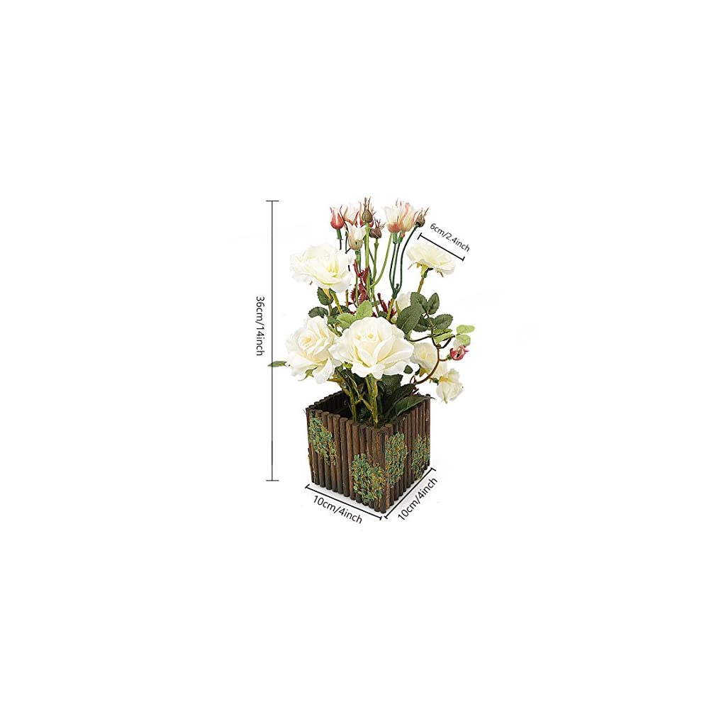 RERXN-Artificial-Flower-with-Wooden-Fence-Pot-Silk-Potted-Rose-Arrangement-for-Home-and-Wedding-Decor