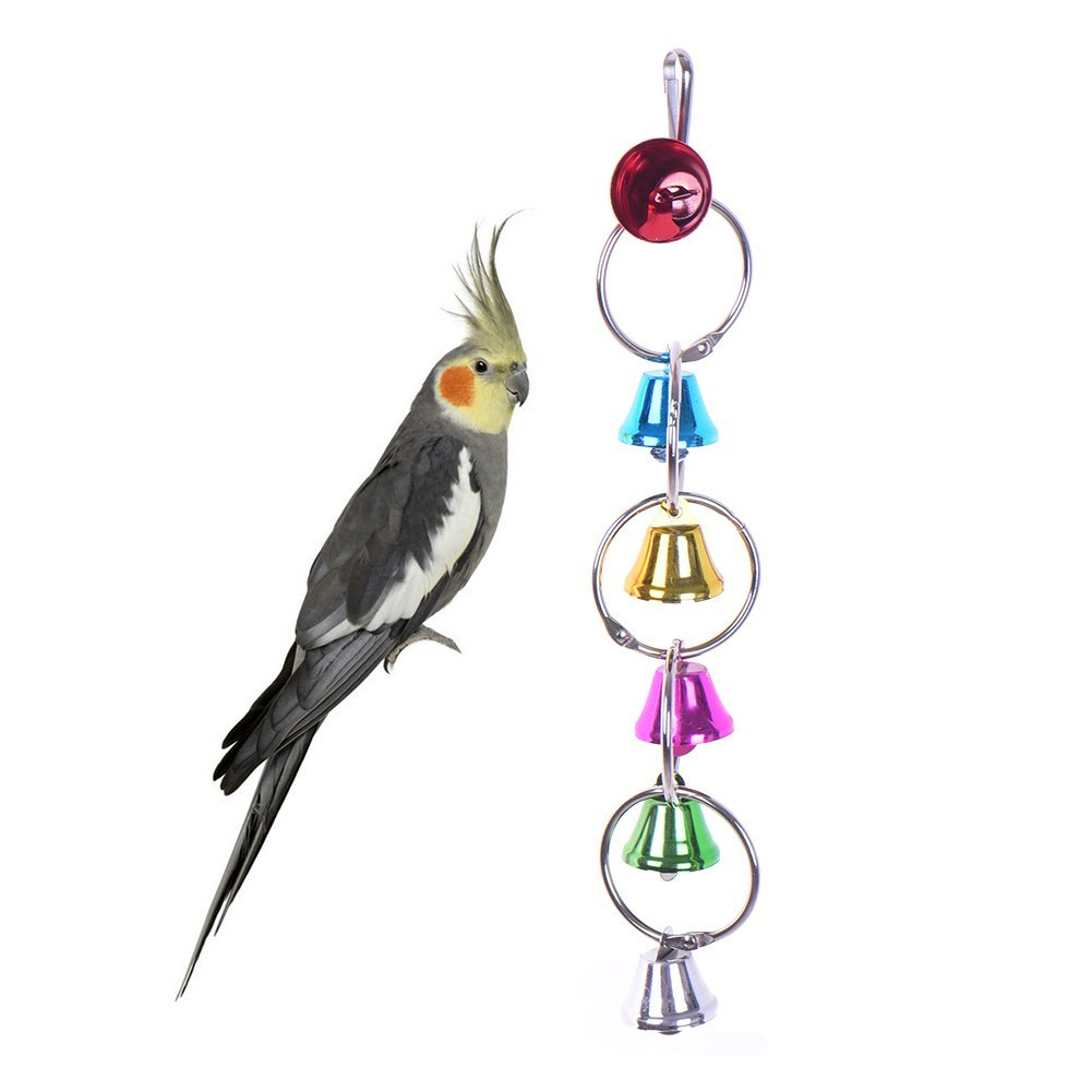 Nueva Funny Colorful Swing Bell Toy Bird Bite Toy para Parrot Cage Parakeet Cockatiel Finch Lovebird Budgie ZSL