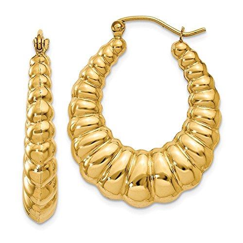 14K Yellow Gold 4MM Scalloped Shrimp Hoop Earrings 14k Yellow Gold Shrimp Hoop
