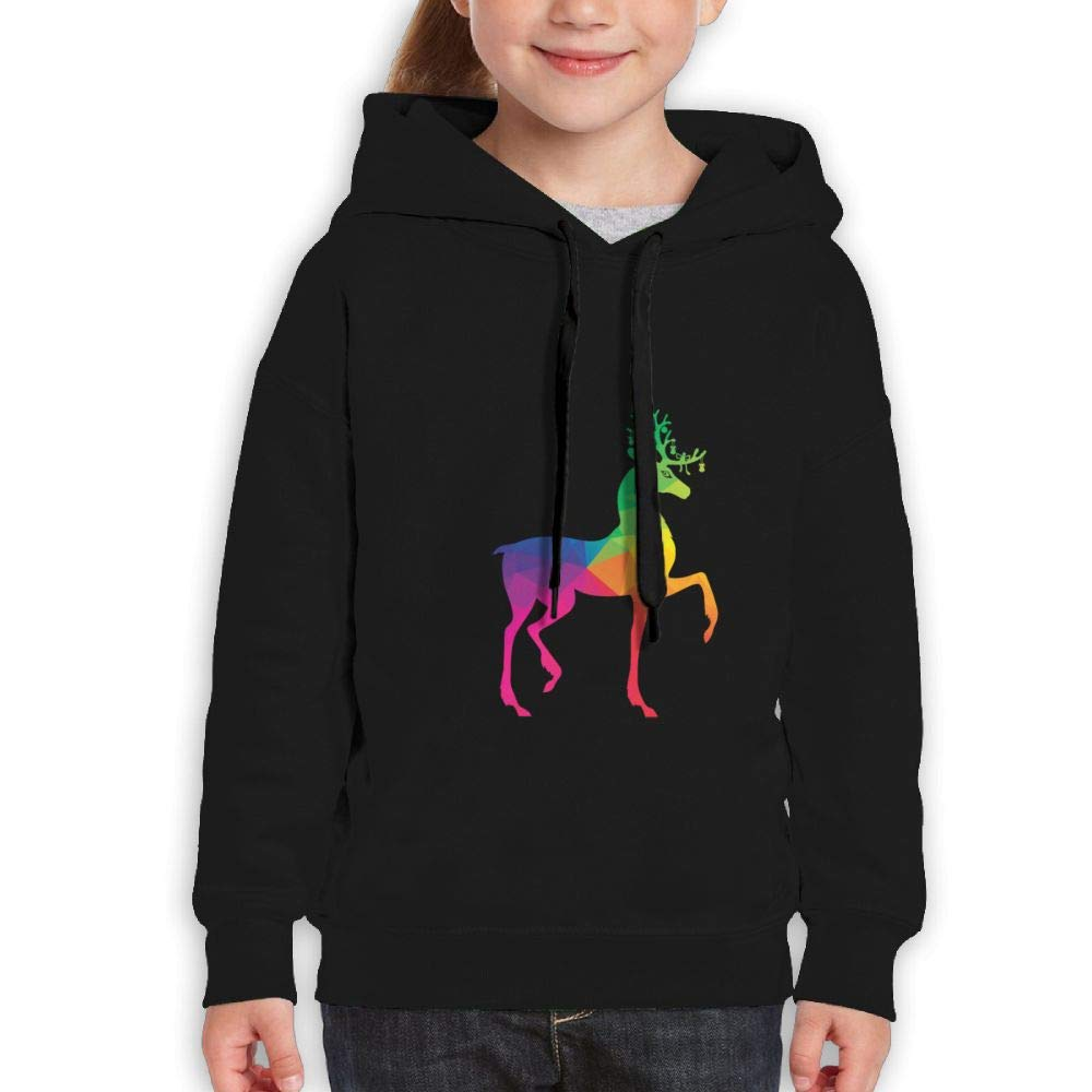 Qiop Nee Rainbow Deer Ornaments Childrens Hoodies Print Long Sleeve Sweatshirt Girls