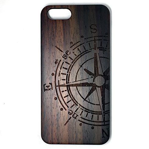 (For IPHONE 6S Case,BTHEONE New Arrival Handmade Hard Unique Natural Tree Wood Wooden Case Cover Shell Compatible For IPHONE 6/6S 4.7 inch (Blackwood-compass))