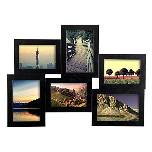 Songmics® Bilderrahmen Fotogalerie für 6 Fotos 30 x 40 cm MDF PVC-Glas Bildergalerie Fotocollage Fotorahmen RPF06H