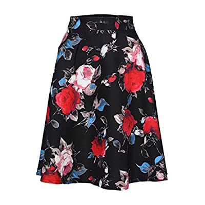 iYYVV Women Lady Basic Retro Floral Printed High Waist Skater Mini Versatile Skirt