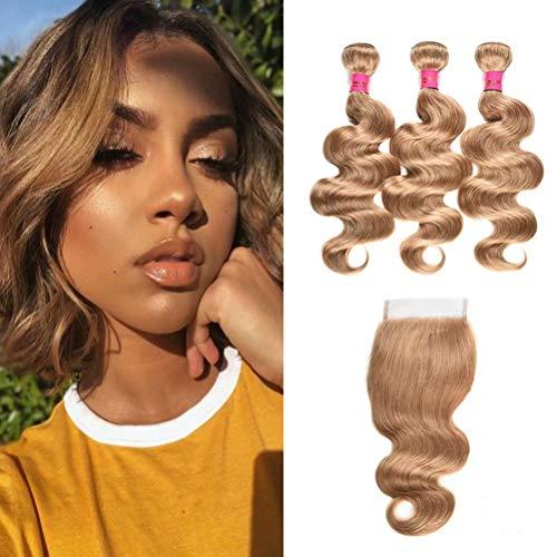 WOME Brazilian Virgin Human Hair Bundles with Closure Body Wave Color #27 Honey Blonde Bundles with closure 3 Bundles with 4x4 Free Part Lace Closure (10 12 14+10 Closure, 27)