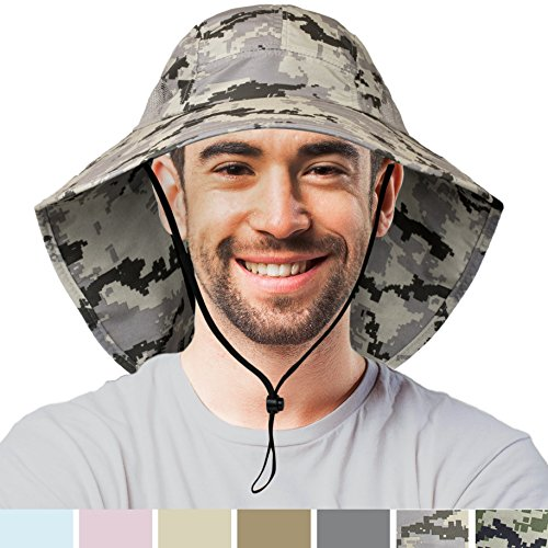 Premium Outdoor Sun Hat for Men | Sun Protection Hat for Hiking, Fishing, Safari | Grey Camouflage Wide Brim Cap with Neck Flap and Adjustable Chin Cord, UPF 50+ | Foldable, Breathable (Digi Gray) Boonie Hat Nylon Hat