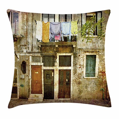 Ambesonne Venice Throw Pillow Cushion Cover, Old Weathered Building Facade with Hanged Clothes Murano Island Grunge Architecture, Decorative Square Accent Pillow Case, 26 X 26 Inches, Multicolor (Venice Furniture Set Office)