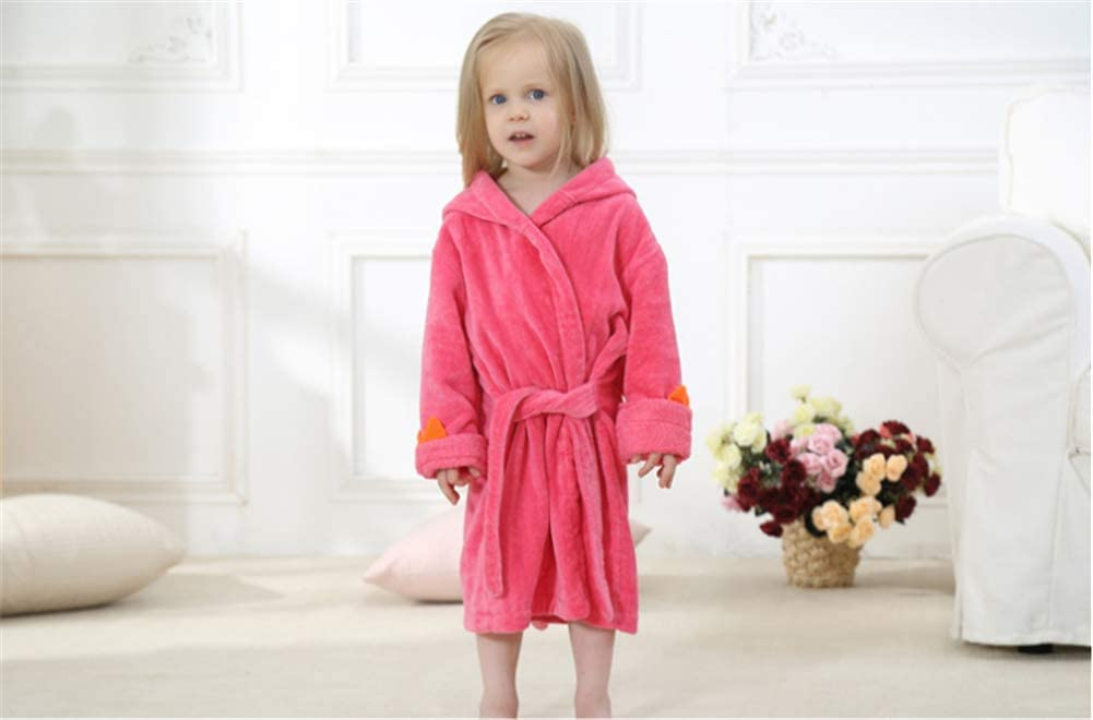 "BAOPTEIL Toddler Cotton Bathrobe Baby Boy Girl Dinosaur Hooded Bath Towel Robe for Kids (Rose Red, 3-5T/(Length-23.6"")): Clothing"