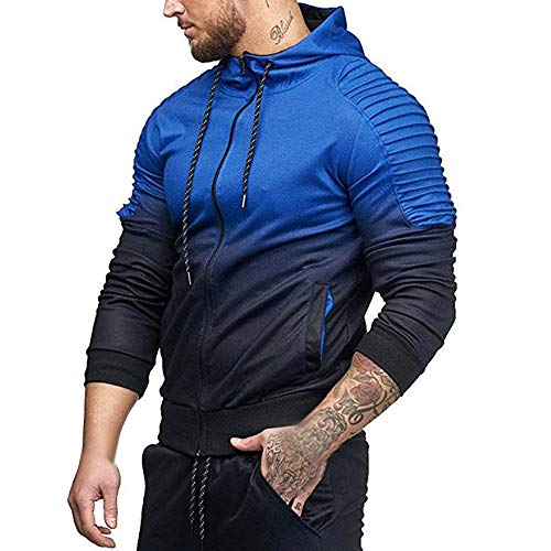 917eed098034 Teresamoon Mens' Autumn Winter Long Sleeve Splicing Fold Hooded Top Blouse  Tracksuits
