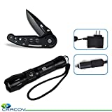 Premium LED Tactical Flashlight Kit With Single Blade Folding Knife, Rechargeable Charger Included, Ultra Bright, Water Resistant Torch, Adjustable Focus, 5 Modes, Perfect For Travel!