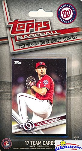 Washington Nationals 2017 Topps Baseball EXCLUSIVE Special Limited Edition 17 Card Complete Team Set with Max Scherzer, Bryce Harper & Many More Stars & Rookies! Shipped in Bubble Mailer! WOWZZER! - Washington Nationals Card