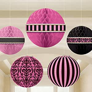 Amscan A Day In Paris Hanging Decoration - Pink, Pack of 5