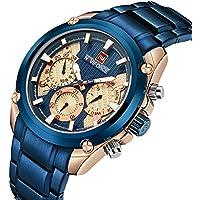 Stainless Steel Strap Mens Watch Chronograph Date Quartz Sport Watch Blue/Golden
