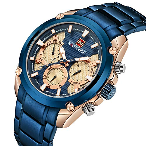 Blue Watch - Stainless Steel Strap Mens Watch Chronograph Date Quartz Sport Watch Blue/Golden