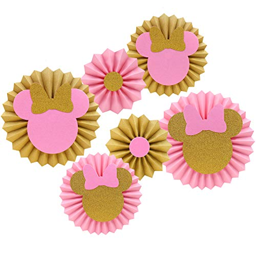 Pink and Gold Glitter Minnie Tissue Paper Fans Backdrop Decoration Girls Birthday Party Favor Set ()