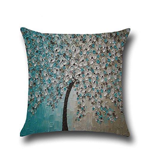 ainting Cotton Linen Decorative Throw Pillow Covers 18 x 18 Inches, Trees Flowers (12) ()