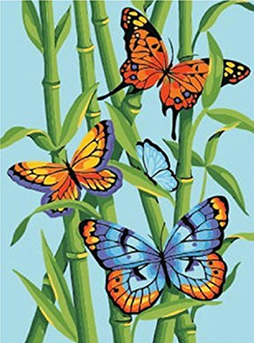 Butterflies and Bamboo DIY Painting-Painting By Number Kit DIY Oil Paint 16x20 inch Canvas Art(Framed)Splendor