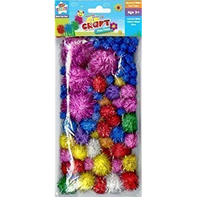 Childrens Kids Assorted Size & Colour Glitter Pom Poms Balls Art Craft Cat Toy: Toys & Games