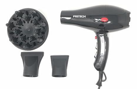 Pritech SalonPro - Secador profesional de pelo de color negro con difusor y boquillas de concentración