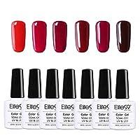 Elite99 Esmalte Semipermanente Esmalte de Uñas Gel UV LED Color Rojo Vino Burdeo 6pcs Kit de Manicura Soak off 10ml - Rojo 004