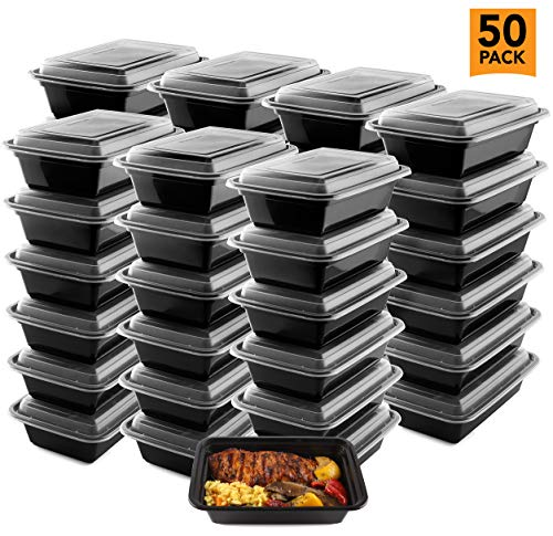 "50-Pack Meal Prep Plastic Microwavable Food Containers meal prepping & Lids.""{24 OZ.}"" Black Rectangular Reusable Storage Lunch Boxes -BPA-free Food Grade- Freezer Dishwasher Safe -""PREMIUM QUALITY"""