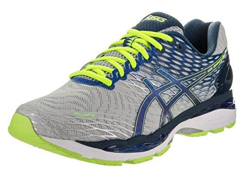 ASICS Men's Gel Nimbus 18 Running Shoe, Silver/Ink/Flash Yellow, 9.5 4E US