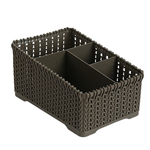 m·kvfa Office Plastic Storage Box Desktop Finishing Box Cosmetics Debris Case Small Storage Box Unit Toys Stationery Container Adult Girls Kids Multiple Compartment Storage Baskets (Dark Grey)
