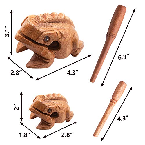 DomeStar Wood Frog, 2PCS Wooden Percussion Instruments Wooden Sound Frog Musical Tone Block Croaking Sound Toy