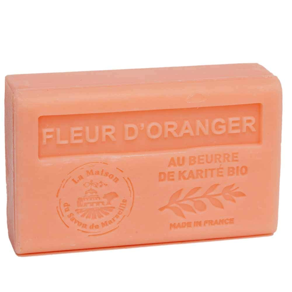 Maison du Savon de Marseille - French Soap made with Organic Shea Butter - Orange Blossom Fragrance - 125 Gram Bar
