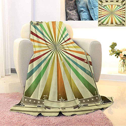 GGACEN Vintage Rainbow Bedding Microfiber Blanket Colorful Burst of Lines with Poster Design with Stars Circus Illustration Super Soft and Comfortable Luxury Bed Blanket W55 x L55 Inch Multicolor