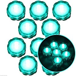 Moondon Submersible Waterproof Battery LED Tea Light Wedding Decoration Turquoise 10 Pcs