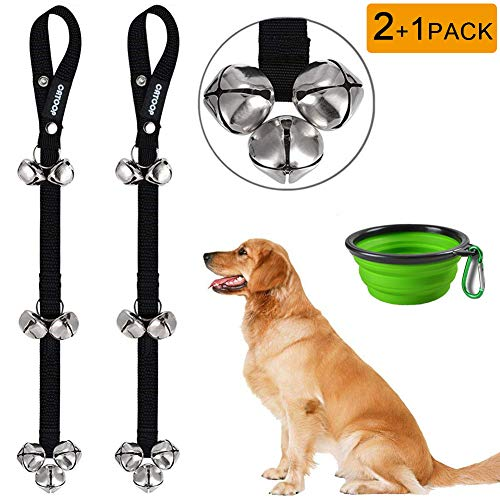 Dog Bells, Potty Bells Dog Doorbells for Dog Training Adjustable Door Bell for Puppy with Collapsible Travel Pet Cat Dog Bowl (Green)